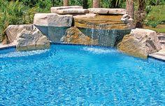 Rock waterfall for pool