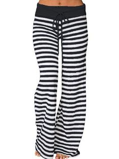TIFIY Halloween Pants Women/Ladies/Girls Fashion Plus Size Striped Wide-Leg Leggings Drawstring High Waist Soft Pajamas Loose Casual Party Club Trouser Sports Yoga Tights Autumn Winter 2018 Wide Leg Yoga Pants, Pantalon Large, Thing 1, Stripes Fashion, Fashion Black, Fashion Women, Women's Fashion, High Fashion, Autumn Fashion