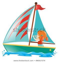Boat Cartoon, Sea Illustration, Little Girls, Sailing, Outdoor, Vectors, Stuff Stuff, Artists, Pictures