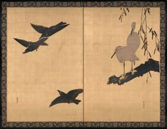 Three Crows in Flight and Two Egrets at Rest Artist: Shibata Zeshin (Japanese, 1807–1891) Period: Meiji period (1868–1912) Date: late 19th century Culture: Japan Medium: Two-panel folding screen; colored lacquer and white pigment on gilt paper Dimensions: Image (each panel): 53 1/2 x 36 in. (135.9 x 91.4 cm) Overall (each panel): 60 7/8 x 39 1/4 in. (154.6 x 99.7 cm)
