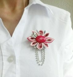 Pink flower brooch, Fashion women accessories, Kanzashi brooch flower, Gift for… Ribbon Jewelry, Ribbon Art, Diy Ribbon, Ribbon Crafts, Ribbon Bows, Material Flowers, Fabric Flowers, Brooch Corsage, Kids Hair Accessories