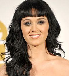 Katy Perry long wavy hair with straight bangs