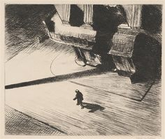 Edward Hopper - NIGHT SHADOWS (ZIGROSSER 22); Creation Date: 1922; Medium: Etching; Dimensions: 6.89 X 8.19 in (17.5 X 20.8 cm)