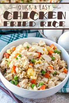 Chicken Fried Rice is an economical dinner idea! It's versatile too - use shrimp, pork, ham or Spam in place of the chicken! The possibilities are endless with this basic recipe. It's a great way to re-purpose leftovers!