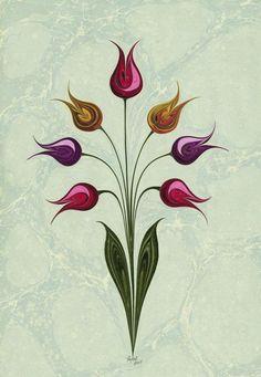 Aşk Islamic Art Pattern, Pattern Art, Sgraffito, Ebru Art, Turkish Art, Marble Art, Fantastic Art, Botanical Illustration, Mosaic Art