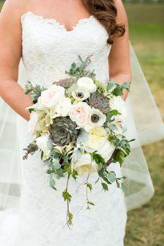 Dreamy succulent bouquet, white peonies, anemones, roses, vines // Aaron Watson Photography