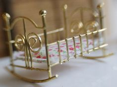 Brass Miniature Dollhouse Baby Cradle Rocker With Pink Floral Mattress