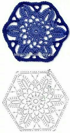 crochet lace polygram motif