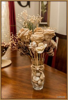 Burlap Flower Bouquet by Craftytude on Etsy, $30.00