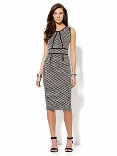 Textured Midi Sheath Dress - Black from New York & Company