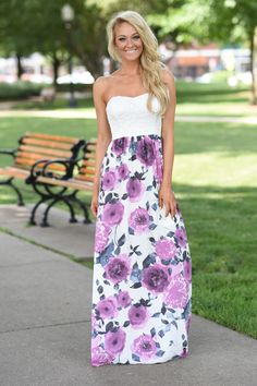 50648b807b6f Strapless Purple Floral Maxi – The Pulse Boutique Stretchy Material