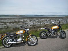 At last the Summer has come to Scotland, 1971 450 Scrambler with a 2015 Classic. | Ducati Scrambler Forum