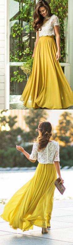 Two Pieces Prom Dress,O-Neck Prom Dress,A-Line Prom Dress,Long Prom Dress,Evening Dress