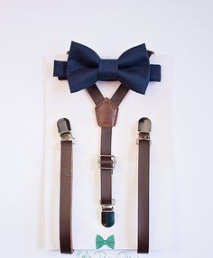 Dark Brown Leather Suspenders and Navy Bowtie..Boys Suits.. Suits..Fall Wedding..Ring Bearer Outfit..Baby Boy Bow Tie..Kids Suspenders..boys