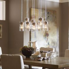 Shop allen + roth Vallymede 25.47-in Brushed Nickel Multi-Light Clear Glass Pendant at Lowes.com
