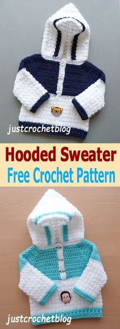 7343ca3d4f7 Free Crochet Hooded Sweater Pattern! So cute! Crochet Baby Sweaters