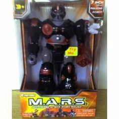 M.A.R.S. Motorized Attack Robo Squad - Black Robot by Cybotronix. $6.99. Interchangeable Weapons. Multi-Articulated Arms. 7 Inch Walking Robot. Pulsing Light Up Eye Unit. Moves Head & Arms While Walking. Walking Robot