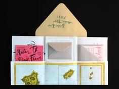 Wedding Invitation Ideas: Hand Lettered Oversize Map Destination Wedding Invitations by Ladyfingers Letterpress via Oh So Beautiful Paper