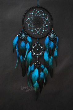 Dream catcher Large Dreamcatcher Boho style Amulet Black Turquoise Light blue red purple green color Home Decor Native American Ethnic style - Dimensions: ring diameter: 19 cm, 8 cm, 5 cm, 4 cm (inches: The length of (i - Grand Dream Catcher, Beautiful Dream Catchers, Dream Catcher Art, Large Dream Catcher, Black Dream Catcher, Making Dream Catchers, Dream Catcher Mobile, Dreamcatchers, Dreamcatcher Wallpaper