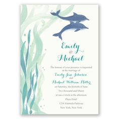 dolphin pair wedding invitation   dolphin wedding invites at Invitations By Dawn