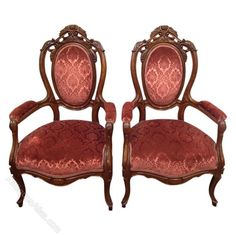 pair of mid victorian carved walnut armchairs