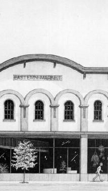 A historic picture of the old Eastern Market building in downtown Lancaster.