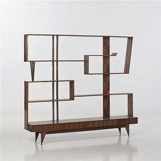 Paolo Buffa (1903-1970) attribué à <br /> Bibliothèque <br /> Bois exotique <br /> Date de création : vers 1950 <br /> H 161 × L 184 × P 31,5 cm <br /> <br /> <br />