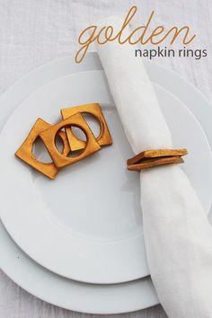 DIY Napkin Rings : DIY Golden Clay Napkin Rings