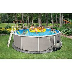 Kmart Swim Time  Belize 24 ft Round 48'' Deep 6-in Top Rail Swimming Pool Package $1747