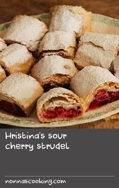 Hristina's sour cherry strudel Baked Dove Recipes, Recipes With Yeast, Liver Recipes, Veal Recipes, Flour Recipes, Pastry Recipes, Grilling Recipes, Easy Stuffing Recipe, Stuffing Recipes
