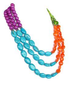 COLOR BLOCK Necklace Turquoise Orange Green by WildflowersAndGrace