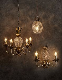 Puerto Collection | M&S Antique brass and pressed glass pineapple collection