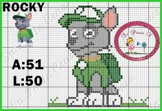Su Ponto X: Patrulha Canina Disney Cross Stitch Patterns, Cross Stitch Charts, Cross Stitch Designs, Plastic Canvas Crafts, Plastic Canvas Patterns, Hand Embroidery Designs, Embroidery Patterns, Kids Money Box, Pixel Crochet Blanket