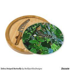 Zebra Striped Butterfly Cheese Board