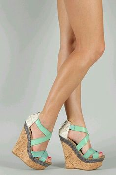 Dollhouse Precise Criss Cross Platform Wedge Wedges for pregnancy Pretty Shoes, Beautiful Shoes, Cute Shoes, Me Too Shoes, Dream Shoes, Crazy Shoes, Stilettos, High Heels, Wedge Shoes