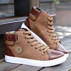 Men Casual High Top Canvas Shoe