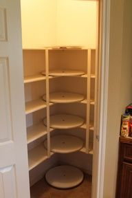 Lazy Susans in corners of Pantry. - Great idea - not only can you get to the stuff at the back but it also increases storage outwards a tiny bit too.