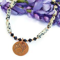 #Dog Rescue #PawPrint #Necklace with Dalmatian Jasper and Swarovski Crystals #Handmade by @ShadowDog #ShadowDogDesigns #Jewelry - $55.00 - @kristibowman - SOLD