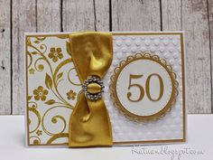 Golden wedding card 50th Anniversary Cards, Golden Wedding Anniversary, Anniversary Greetings, Anniversary Ideas, Wedding Shower Cards, Wedding Cards, Wedding Decor, Love Cards, Homemade Cards