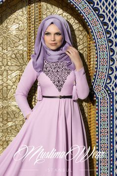 Muslima Wear Silk Way Collection- Floral embroidery Lila Dress | US Muslima Wear