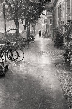 Rain....  bicycles..... lone figure walking with an umbrella.........  Perfect rainy day!