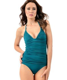 Voda Swim Envy Push Up Shirred One Piece Swimsuit In Peacock
