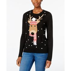 Karen Scott Petite Reindeer Holiday Sweater, ($27) ❤ liked on Polyvore featuring tops, sweaters, deep black, holiday tops, evening tops, holiday sweaters, special occasion sweaters and evening sweaters