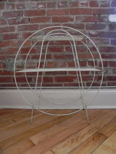 Vintage White Wire Plant Book or Magazine Stand by KOSMNY on Etsy, $70.00