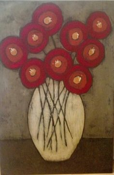 Red poppies painted on wood