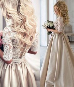Vintage Champagne Wedding Dresses Lace Appliques Ball Gown Bridal Gowns