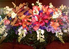 Fantasy Flowers & More ~ Sweet Serenity Casket Spray - Double Saddle Casket Spray composed of Lilies, Roses, Lisianthus, Snapdragon, Stock, Lilac, Statice, and various foliage. May substitute certain items when not in season. $300.00
