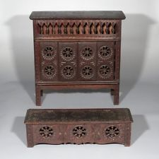 Vintage French Hand Carved Wooden Doll Brittany Cabinet and Chest