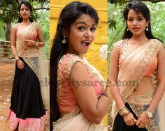 Bhavya Black Designer Half Sari | Saree Blouse Patterns