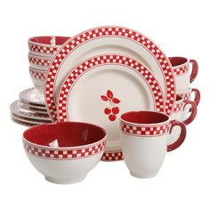 Shop for Gibson General Store 16 Piece Cherry Diner Ceramic Dinnerware Set. Get free delivery On EVERYTHING* Overstock - Your Online Kitchen & Dining Outlet Store! Get in rewards with Club O! Dinnerware Sets Walmart, Casual Dinnerware Sets, Dinnerware Sets For 12, Square Dinnerware Set, White Dinnerware, Dinnerware Ideas, Cherry Kitchen Decor, Red Kitchen, Kitchen Stuff